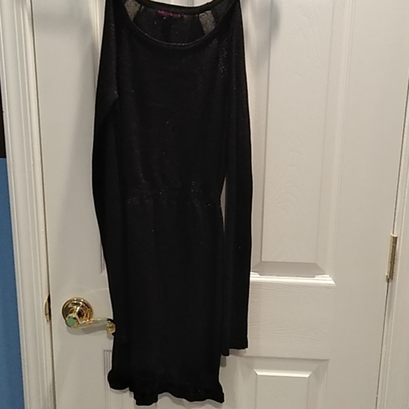 Material Girl Dresses Black Sparkly Long Sleeve Mesh Dress Poshmark
